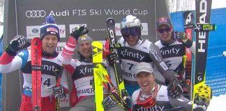 Un podio muy numeroso con Franz, Caviezel y tres terceros: Svindal, Paris y Kilde
