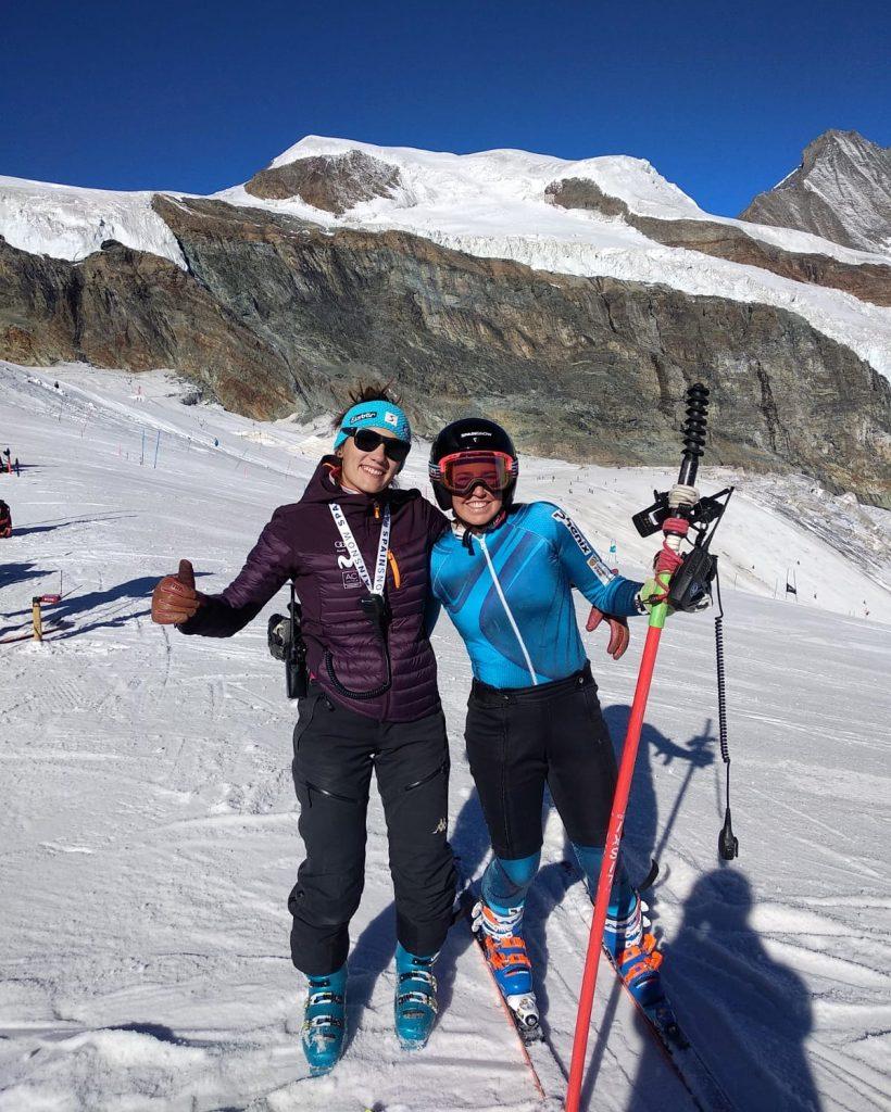 En las pistas de Saas Fee gracias a las becas 'Spainsnow Mujer y Nieve'. FOTO: RFEDI-Spainsnow