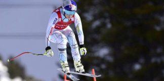 La campeona estadounidense durante un descenso en Lake Louise
