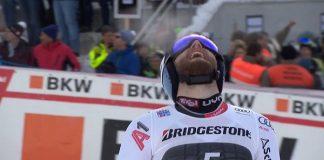 Marco Schwarz no puede reprimir su alegría al saberse ganador de la combinada de Wengen.