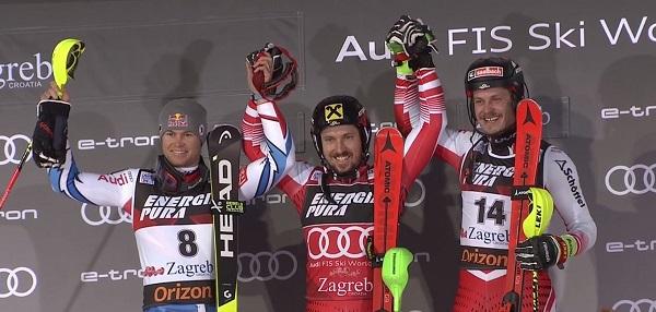 Marcel Hirscher, en el podio con Alexis Pinturault y Manuel Feller, ha ganado por quinta vez el slalom de Zagreb.