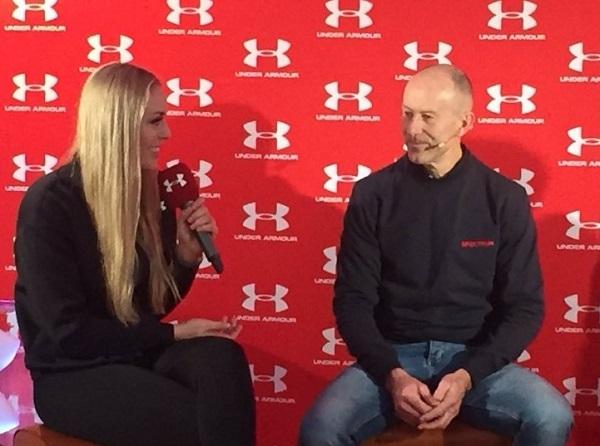 Lindsey Vonn entrevistando a Ingemar Stenmark.