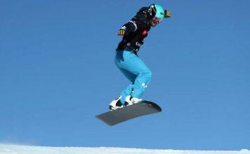Lucas Eguibar, en el Mundial de snowboard disputado en Park City. AFP