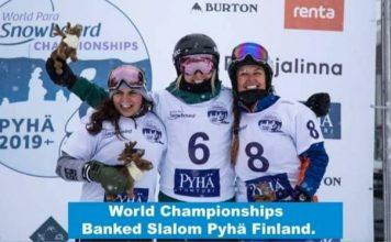 Podio del Banked slalom en el Mundial de Pyha (Finlandia)