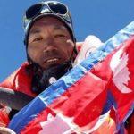 El nepalí tras la llegada al Everest el miércoles pasado