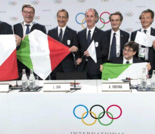 El contingente de la candidatura de Milán tras el triunfo en Lausana