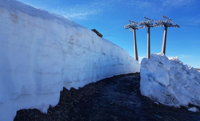Parte superior de la carretera de la Laguna de las yeguas con mucha nieve todavía