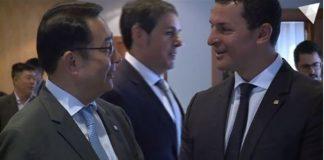 El embajador de China Lyu Fan con el Ministro de Economía y Empresa, Jordi Gallardo